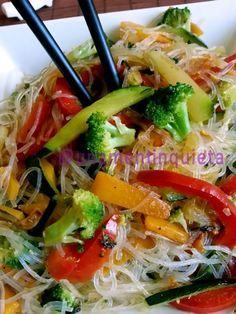 Receta fideos de arroz con verduras
