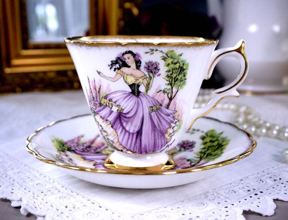 Taylor & Kent DAINTY MISS English Tea Cup and Saucer, Floral, Purple Teacup Duo, Made in England, Vintage 1950s