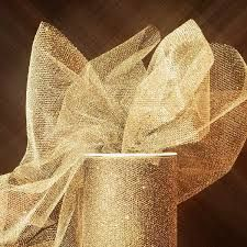 gold shimmery tulle. This could be good as a table runner or chair sashes.