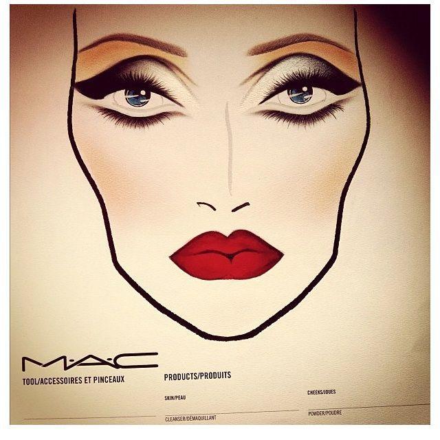 MAC Kosmetik Gesicht Diagramm; rote Lippen rauchschwere schwarzgeflügelte … -…