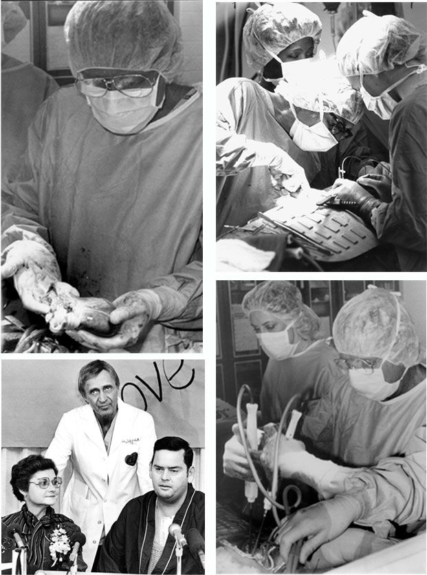 Clockwise from upper left: Dr. Nazih Zuhdi holds the heart of a 14-year-old Georgia girl who died in a car accident; Dr. Zuhdi performs transplant surgery on Nancy rogers; Dr. Zuhdi and a nurse debribrillate the heart of Nancy Rogers; Dr. Zuhdi with first heart transplant recipient Nancy Rogers, 45, Oklahoma City, at left, and second heart transplant recipient Robert Fortson.