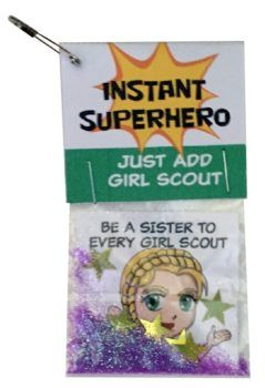 "Look at these swaps! ""Instant Superhero – Just Add Girl Scout"" is printing on the supplied card. All ten parts of the Girl Scout law is represented by one of our superheroes. No scissors or glue needed. Just a stapler. Everything else is included! New SWAP kit from Makingfriends.com"