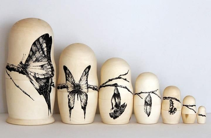 Raul del Sol - Cycles of Life. Metamorphosis Russian Dolls. So striking. #art #butterflies #metamorphosis