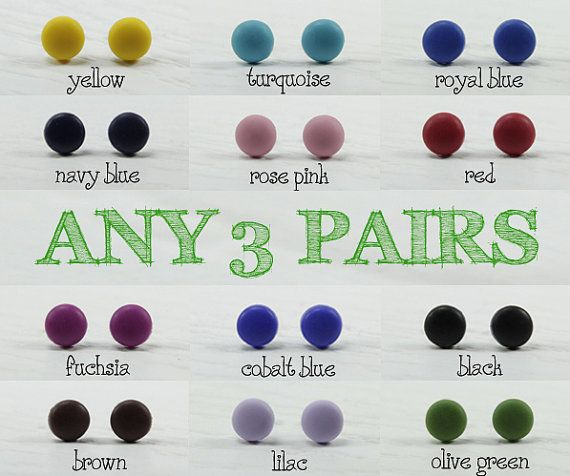 Any 3 Pairs  Matte Stud Earrings 9mm  Choose Your Colors by biesge, $20.00