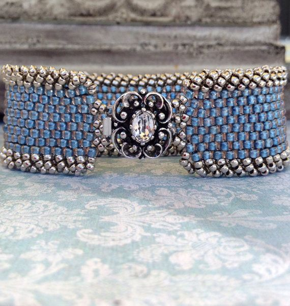 Peyote Stitch Bracelet ~ Statement Country Blue Cuff ~ Vintage-styled Clasp ~Seed Bead Beauty~ Peyote Chic by Country Chic Charms