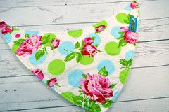 Roses with Blue and Green Dots, Cotton<br>Bandana Bib<br>Instock and ready to ship