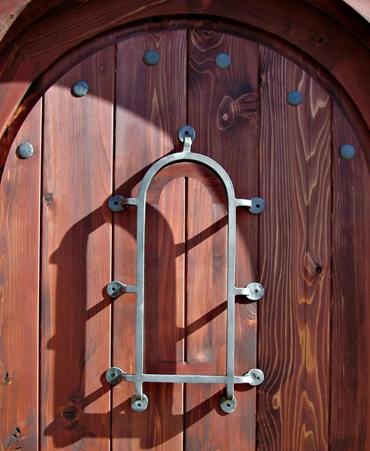 Wrought Iron Wood Arched Door Love The Iron Medieval