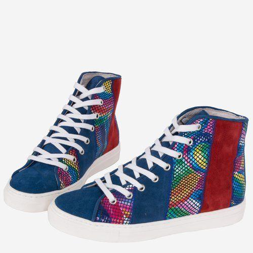 Pantofi sport din piele naturala cu imprimeul multicolor Evelina