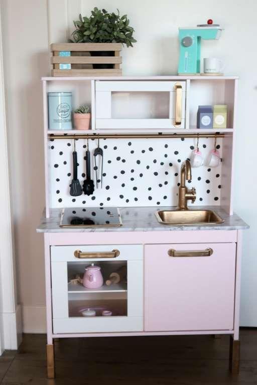 Ikea duktig keukentje gepimpt roze zwart wit stippen goud – Mama's Meisje bl…