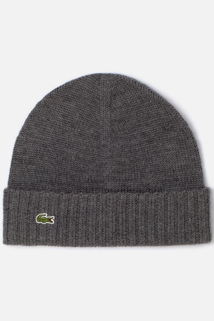 Lacoste Men's Green Croc Merino Knit Beanie : Caps & Hats