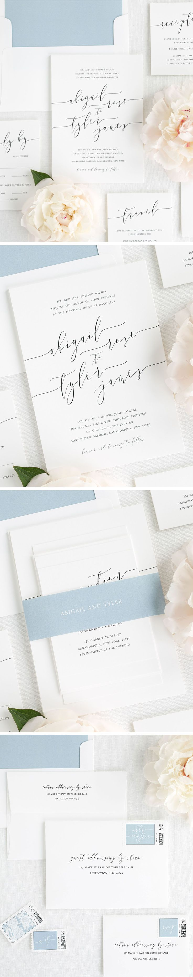 Design your perfect stationery suite from start to finish! Shine Wedding Invitations offers everything you need from save the dates and wedding menu to table numbers and thank you.  cards. White Matte wedding invitations with modern calligraphy make an elegant statement on our Romantic Calligraphy wedding suite. Customize this look with a dusty blue solid envelope liner and a matching belly band. Complete a consistent look with our guest addressing services and custom design stamps.