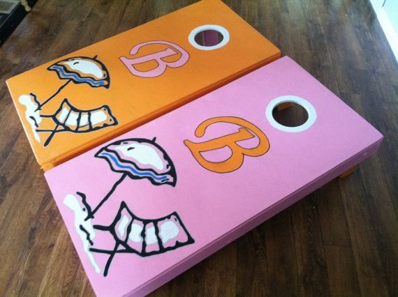 custom hand painted beached themed cornhole board sets by byfolks - Cornhole Sets
