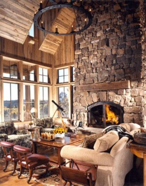 Cabin Style Living Rooms-24-1 Kindesign