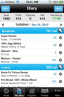 "Keep your diet on-track with the easy app ""My Fitness Pal""... I'm obsessed this is life changing... - vm"
