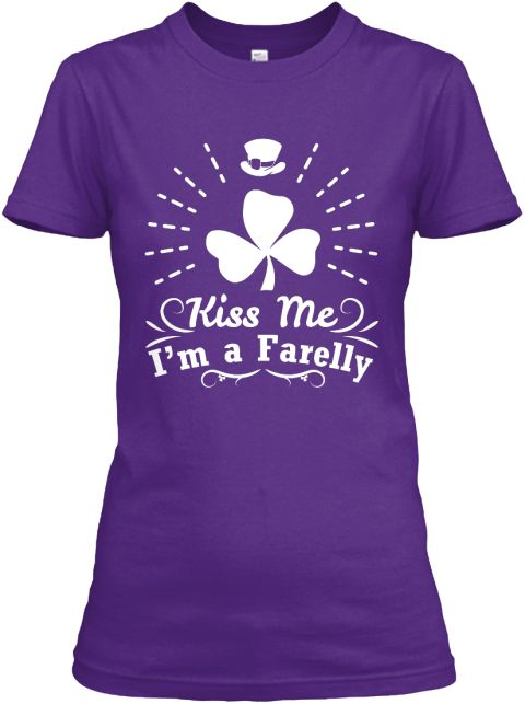 Kiss Me I'm A Farelly Purple Women's T-Shirt Front