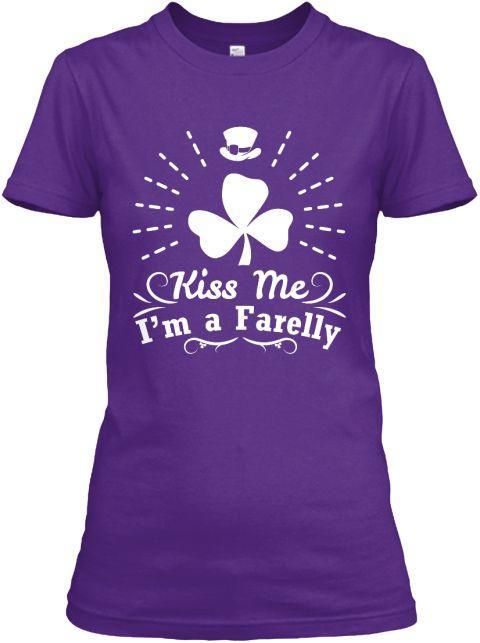 Kiss Me I'm A Farelly Purple Women's T-Shirt Front
