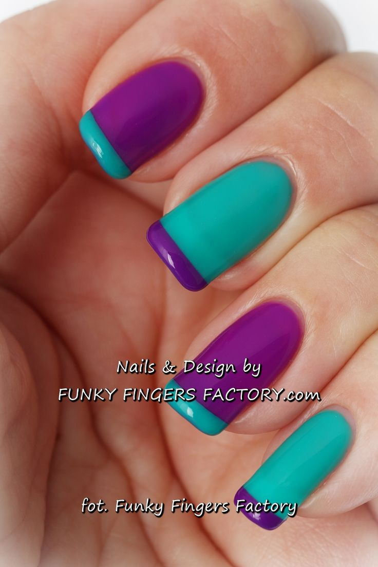 Purple and Teal Gelish French Manicure by www.funkyfingersfactory.com