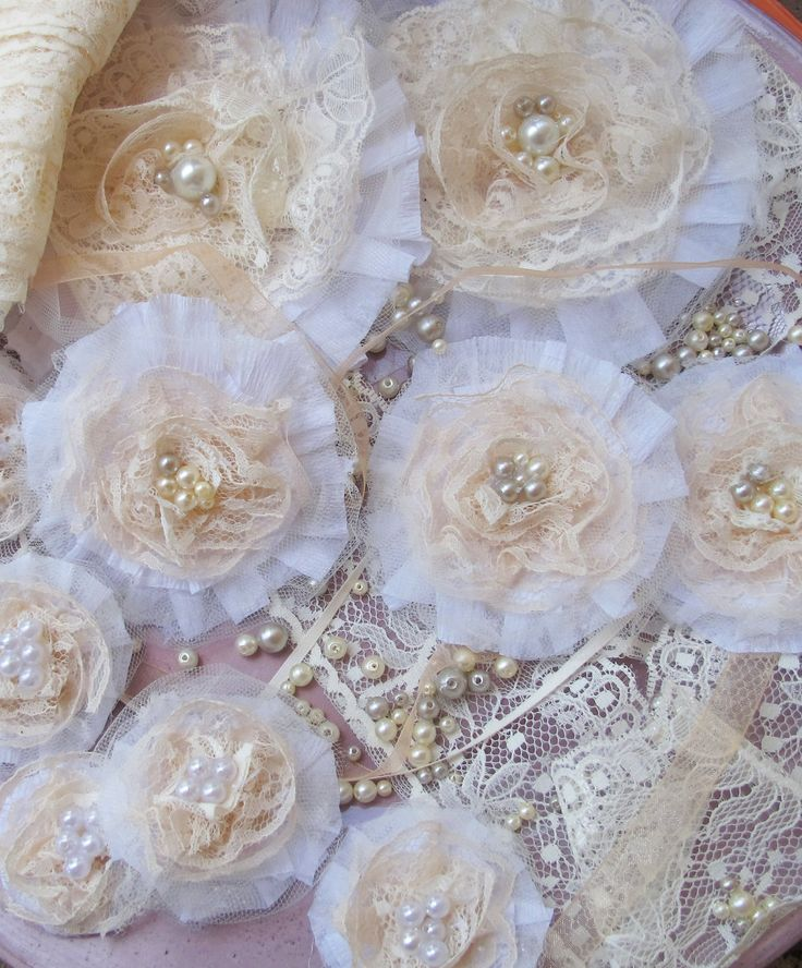 set of shabby chic lace and pearls flower brooch decoration perfect for an elegant wedding - small, medium or large. $10.00, via Etsy. (set of 4 small(