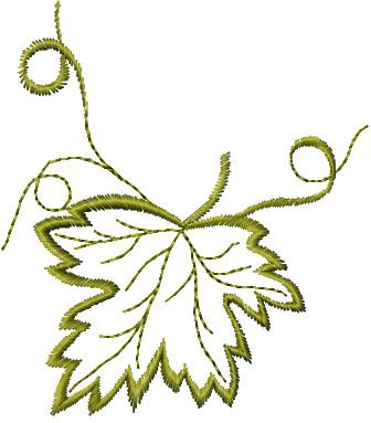 Maple-leaf free machine embroidery design