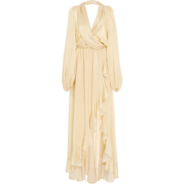 Caroline Constas Olivia Metallic Long Sleeve Gown ($995) ❤ liked on Polyvore featuring dresses, gowns, gold, gold ball gown, beige dress, gold gown, long sleeve gowns and slit gown