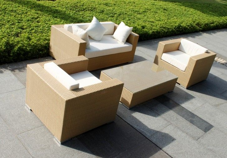 Furniture: Natural Sun Lighting Large Space Green Color Wet Grass Gray Color Floor Foot Path Outdoor Living Room Light Brown Color Two Single Sofas And Medium Sofa Whiet Cushions Rectangle Table: Superb Outdoor Furniture in Beautiful Place