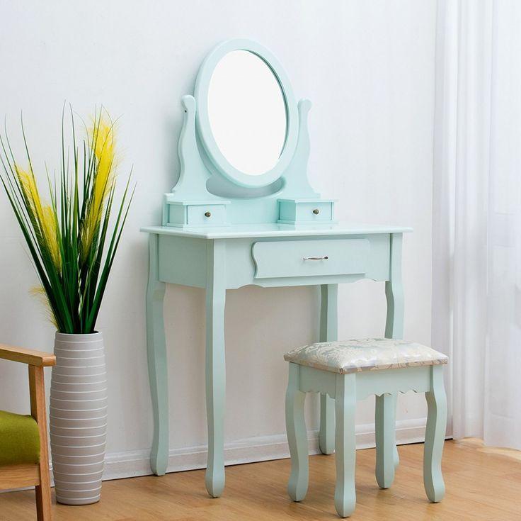 SEAL101 - Masă de toaletă cu taburet - http://www.emobili.ro/cumpara/seal101-set-masa-toaleta-cosmetica-machiaj-oglinda-masuta-vanity-ou-de-827 #eMobili