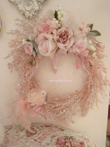 Fluffy Bird Pink Ice Wreath
