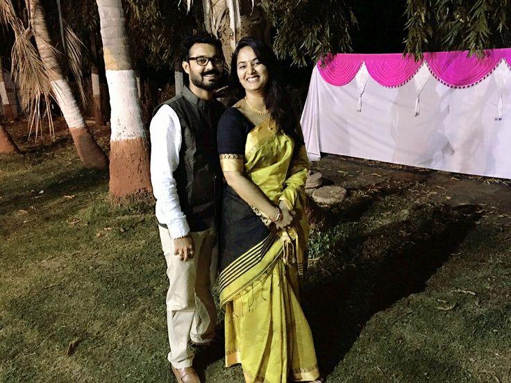 Silk sari in green and black border...