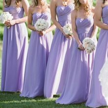 2016 Cheap Sweetheart Bridesmaid Dresses Long Chiffon Ruched Bodice Light Purple Dress(China (Mainland))