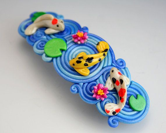 Koi Pond Barrette in Polymer Clay Filigree by StarlessClay on Etsy