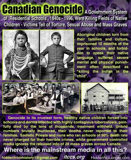 canadian genocide , native american children -  Still to this day the way Natives are treated in Canada is disgusting.