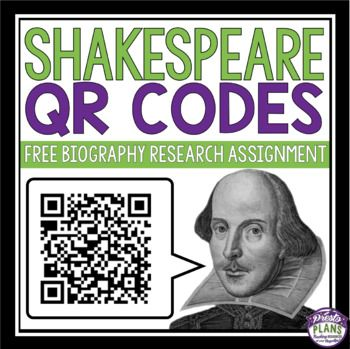 FREE SHAKESPEARE BIOGRAPHY QR CODES: Transport your students back to Renaissance England using modern technology! This assignment has students use QR codes as a method of research for Shakespeare's life and times. ==============================================&#x...
