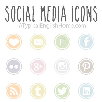 FUN SPRING COLORS and FREE! A Typical English Home: Free Social Media Icons: Pastel Collection