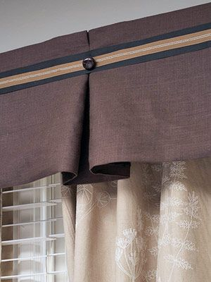 No-sew Valance: -- Cut a 1-x-6-inch board a few inches wider than the bank of windows and cut two 6-inch-long pieces for the returns. Screw the returns to the board. -- Cut fabric to a height of 10 inches and to the desired width (leaving allowances for hems, the returns, and at least 8 inches for each box pleat) and hem all edges using fusible webbing. -- Position the board under the fabric, 3 inches from the top hem. Staple the fabric to the board, folding in pleats every 12 to 15 inches…
