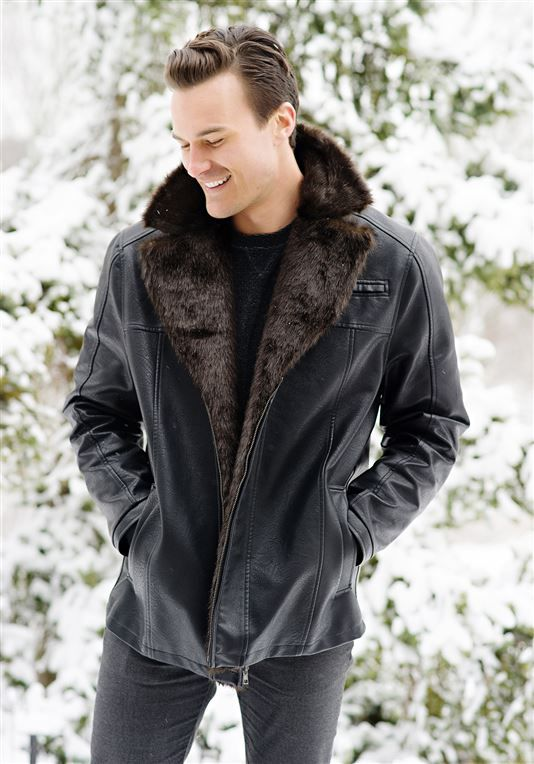 979f01807ff Men's Faux Leather and Faux Fur Coat | Mens Faux Fur Coats - Donna ...