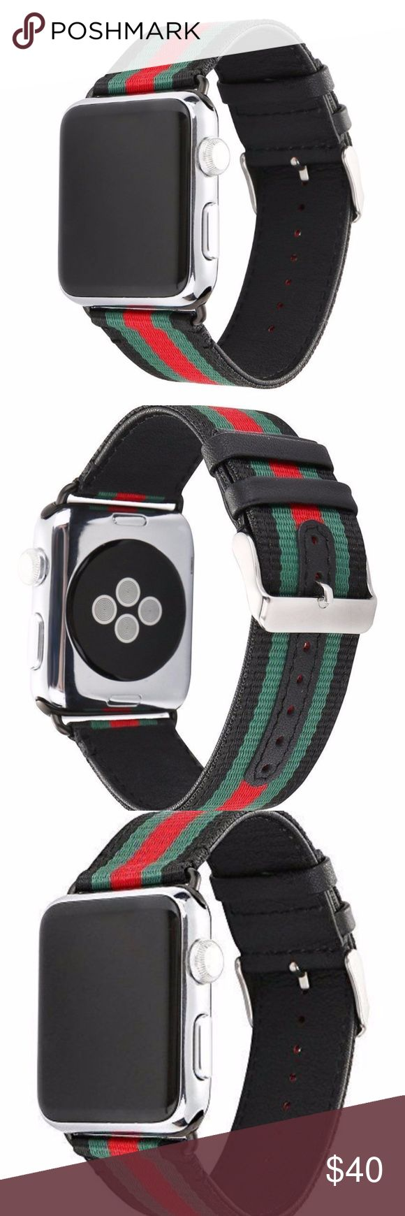 RedBlackGreen Pattern Apple Watch Band 48mm-38mm These luxury designer bands are handmade with luxury quality materials.  The bands are designed for both men and women of all ages.  The installation is very simple and can be done in seconds.  You have the option to change the connector to other colors that may closely match the color of your watch.  These bands are sure to be a discussion piece when worn around friends. Accessories Watches