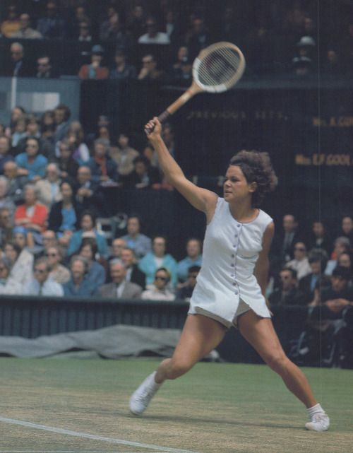 Evonne Goolagong in action on Wimbledon Centre Court