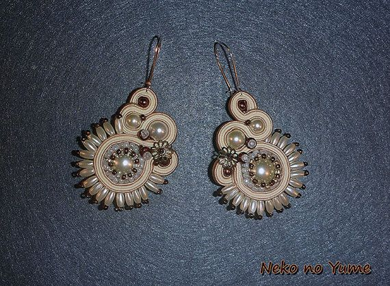 Bridal Soutache two-sided earrings  Pearl by IzabelaCichocka