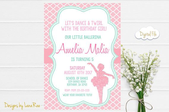 Ballerina Birthday Invitation Ballet Birthday Invitation