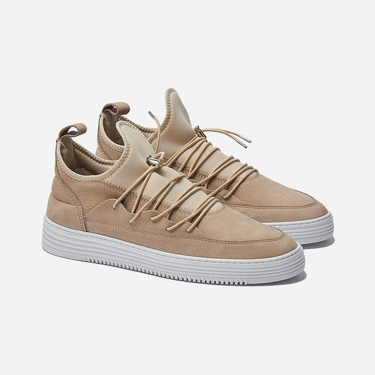 Low Top Herren Sneakers zum reinschlüpfen von Filling Pieces in Beige aus hochwertigem Material-Mix aus Veloursleder, strukturiertem Leder und Neopren: https://sturbock.me/?s=filling#53925