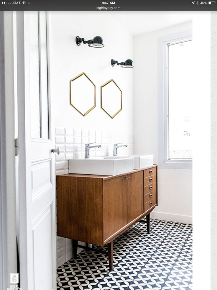 lavatório com aproveitamento de armário vintage