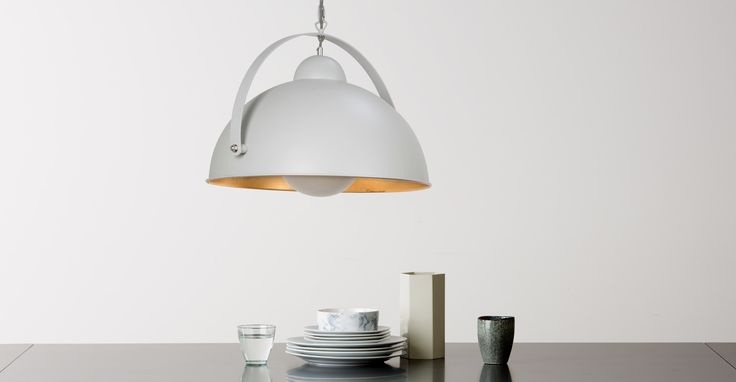 Chicago Pendant Light, Muted Grey and Brass | made.com