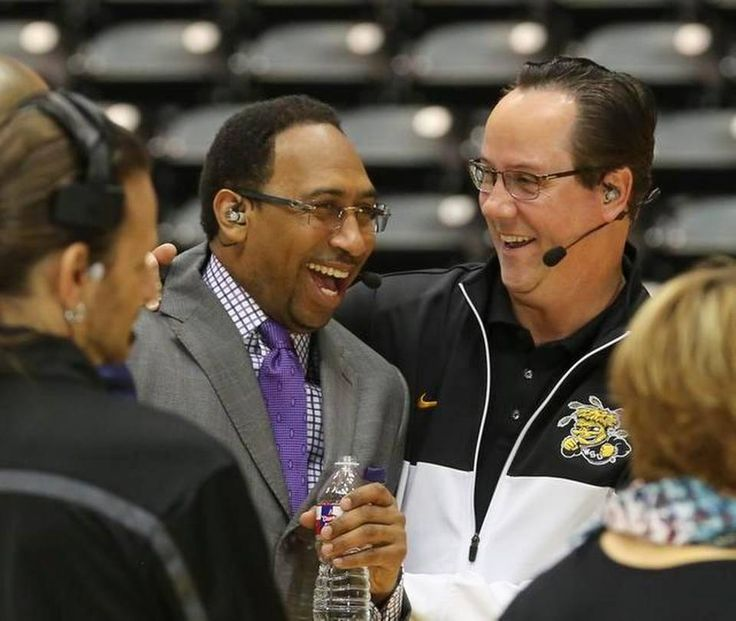 ESPN personality Stephen A. Smith shares a laugh with Wichita State coach Gregg Marshall before the the ESPN College Gameday started at Koch Arena Saturday morning.