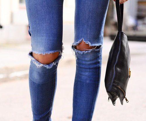 Distressed skinny jeans.