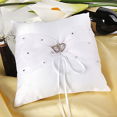 Ring Pillow In White Satin With Rhinestones Double Hearts – GBP £ 6.60