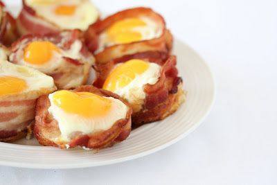 Bacon Egg Pancake Cups. Perfect idea for for on the go breakfast! Have to make these for the hubby before work!  :)