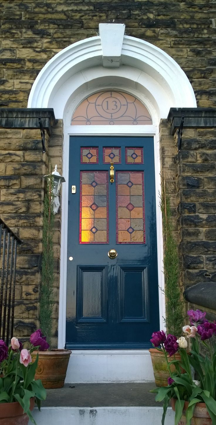 Stained glass Victorian front door in Farrow & Ball Hague Blue