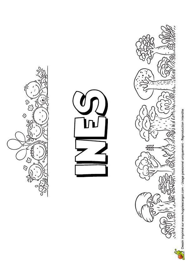Coloriage de la version petite colline du prénom Inès