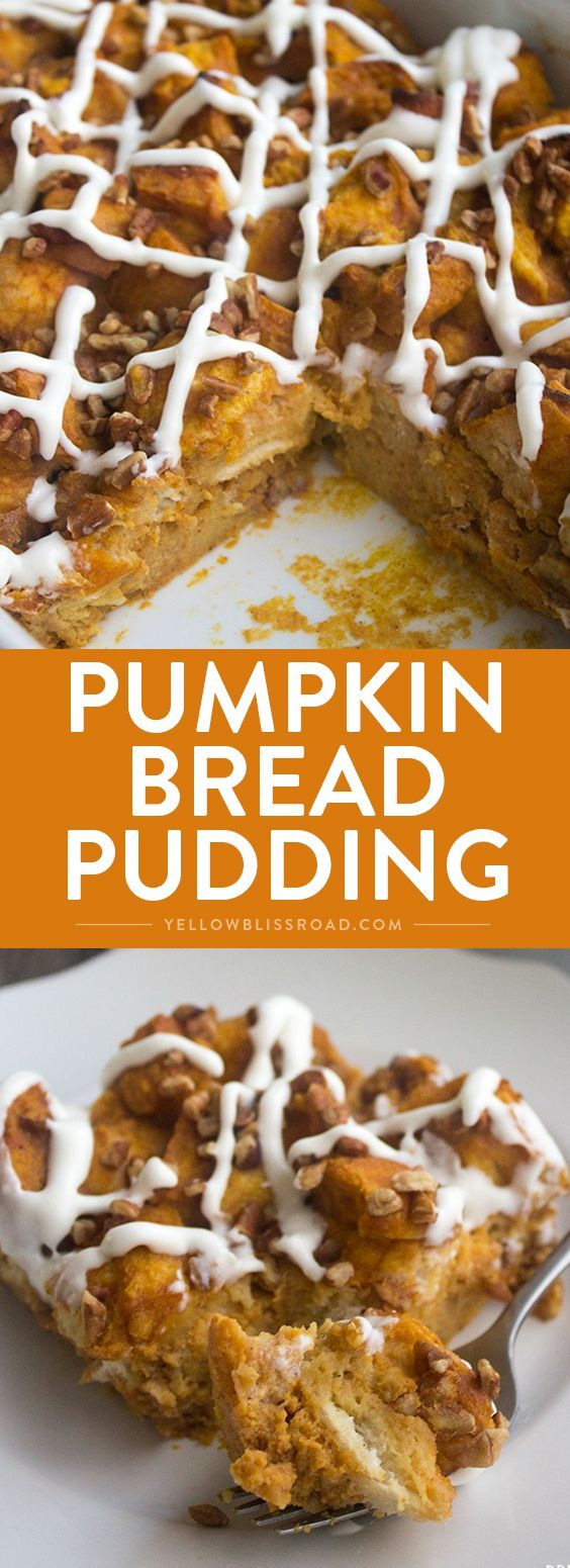 Pumpkin Bread Pudding - Nothing says fall like a big piece of Pumpkin Bread Pudding drizzled with cream cheese glaze for dessert!