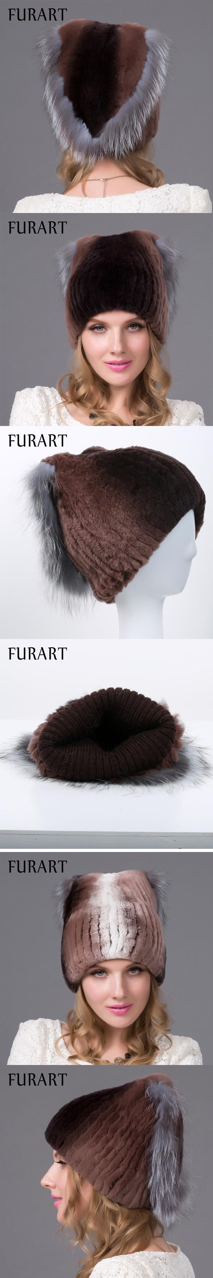 Winter fur hats for women rex rabbit fur hat silver fox fur with lining pom pom knit beanies  With lining Russian fur cap